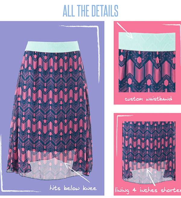 The Lola skirt, LuLaRoe's midi skirt, falls fashionably below the knee. This lace or chiffon skirt features a lining that is four inches shorter than the skirt itself, adding visual interest to the lace options and enough fullness and weight to ensure this skirt hangs beautifully. This skirt in turn makes you feel beautiful and who wouldn't want that?