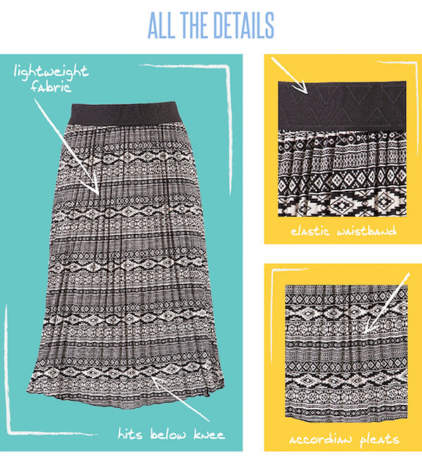 This new version of a LuLaRoe classic, the Jill Skirt, features a romantic, accordion-pleated skirt made of CVC and rose skin that drapes beautifully and fashionably below the knee. It has a comfortable exposed elastic waistband that can be worn at the waist or slung low on the hips. The Jill skirt is breezy and flirty and seems especially suited to transition from hot days to even hotter nights.