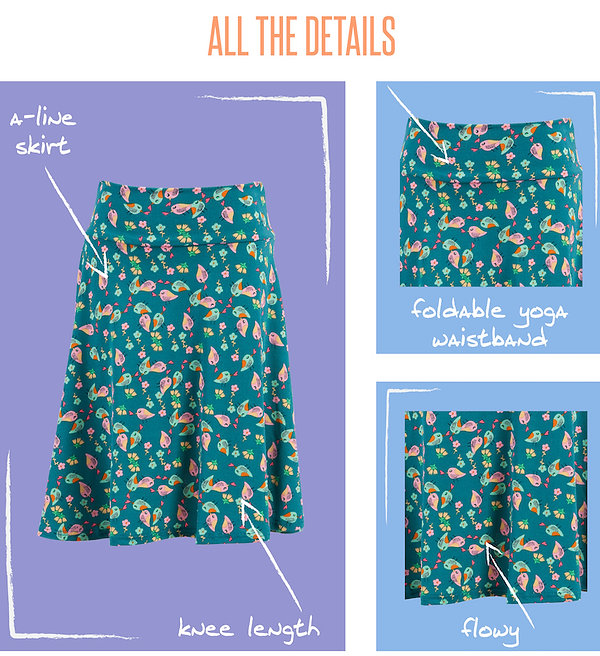 Your favorite little girls will love the versatile Azure skirt now offered in youth sizes. The full circle skirt with a yoga waistband is perfect for twirling and playing, and – on the rare occasion they're not moving – the girls can sit easily and comfortably crisscross applesauce. Made of spun polyester cotton, this skirt can hold up to the demands of an active childhood.
