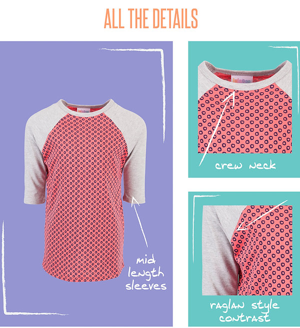 Creative, playful, unique, whimsical, fun…These attributes could easily describe our favorite little humans, but are a perfect fit for LuLaRoe's first kids shirt: the Sloan T. This versatile shirt is designed for boys and girls alike. It's a soft and durable knit baseball tee that comes in a wide variety of colors and prints. Its contrasting raglan sleeves are occasionally mismatched for an added element of fun and surprise!