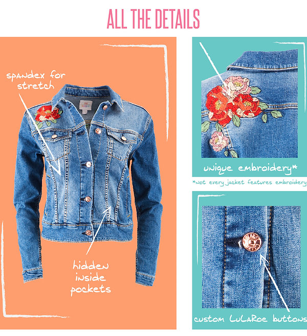 Timeless, versatile, and iconic: the denim jacket. The LuLaRoe Harvey jacket checks all the boxes of everyone's favorite wardrobe staple. The Harvey follows the classic fit of a denim jacket and is custom-made from the softest twill and denim fabrics, with spandex giving it the ultimate fit and comfort for any occasion. It comes in multiple color-ways, shades, and washes with a limited number of them boasting unique embroidery. The result is an uncomplicated, simple-fit ready for work and play that pairs well with any and all of your favorite LuLaRoe pieces.