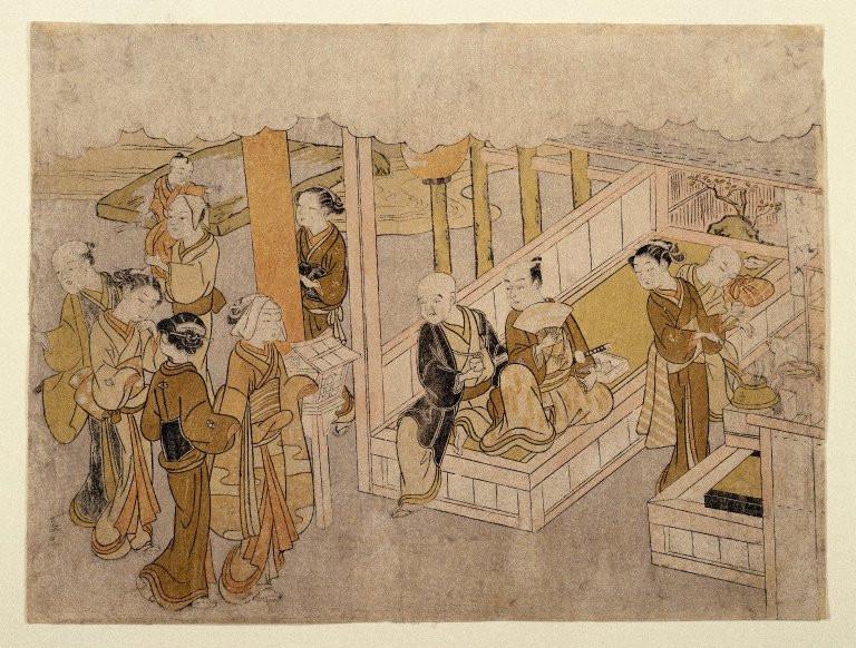 Pintura sobre madera de mediados del siglo XVIII que representa el Miai
