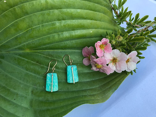 Green Chrysoprase with Gold Bar Earrings