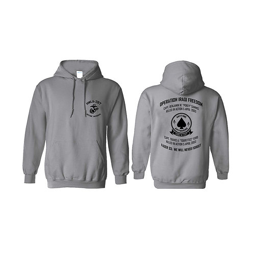 Memorial HMLA-267 Sport Gray Pullover Hoodie - Black Ink