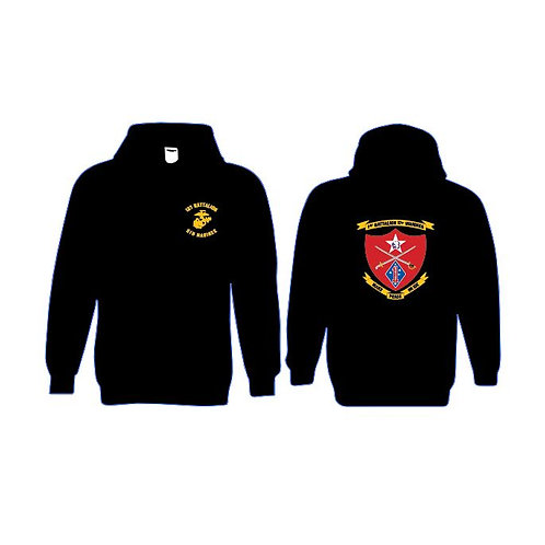 1-5 Marines Black Pullover Hoodie - Color Ink