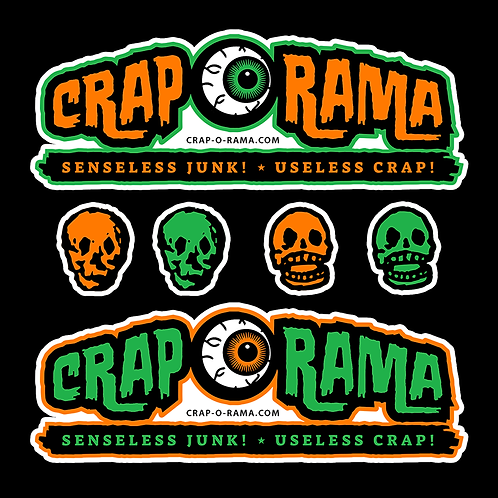 "Crap-O-Rama 5"" Sticker Pack Orange/Green"