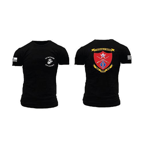 1/5 Marines Short Sleeve T-Shirt - Black Shirt Color Ink