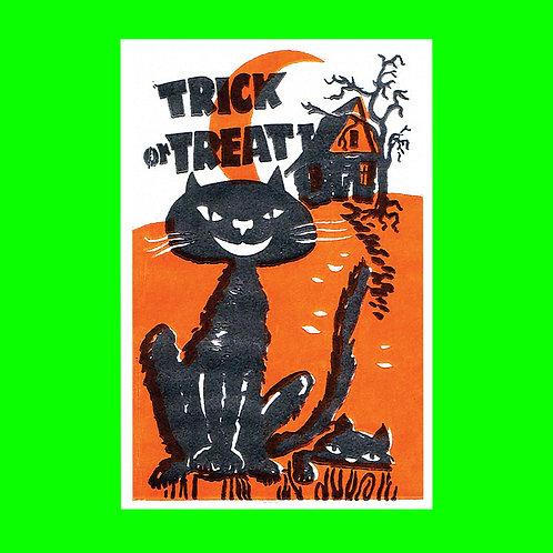 Halloween Banner - Trick or Treat Black Cat