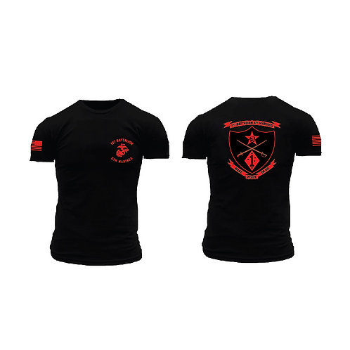 1/5 Marines Short Sleeve T-Shirt - Black Shirt Red Ink