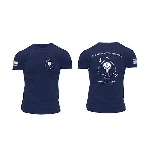 Dog Co. 1/7 Short Sleeve T-Shirt - Navy Shirt White Ink
