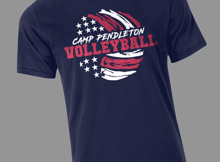 Knocked out these cool shirts for the Camp Pendleton Volleyball team!