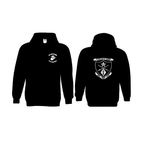1-5 Marines Black Pullover Hoodie - White Ink