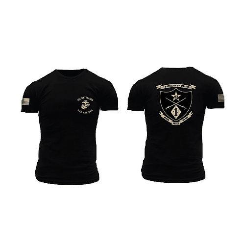 1/5 Marines Short Sleeve T-Shirt - Black Shirt Tan Ink