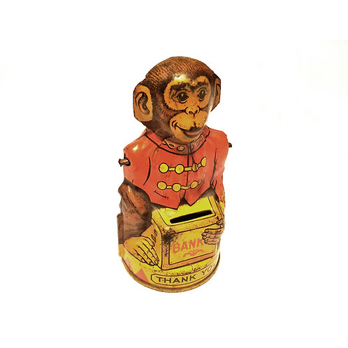 Vintage Monkey Tin Coin Bank