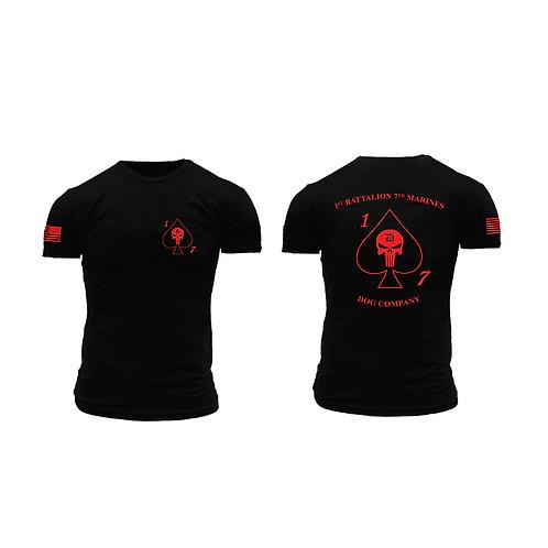 Dog Co. 1/7 Short Sleeve T-Shirt - Black Shirt Red Ink