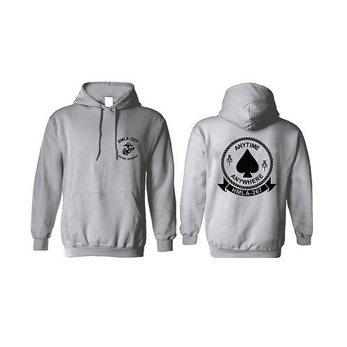 Sport Gray Pullover Hoodie - Black Ink