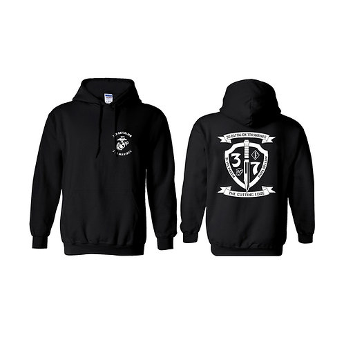 3/7 White Shield Pullover Hoodie