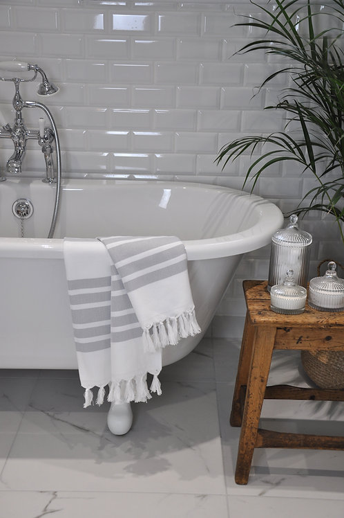 Izmir Silver & White Herringbone Towel