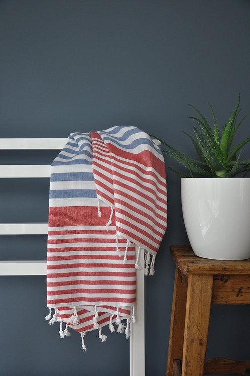 Bodrum Navy & Red Towel