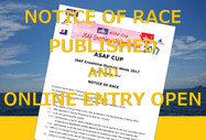 NOTICE OF RACE PUBLISHED AND ONLINE ENTRY OPEN