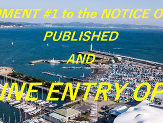 AMENDMENT #1 to the NOTICE OF RACE PUBLISHED AND ONLINE ENTRY OPEN