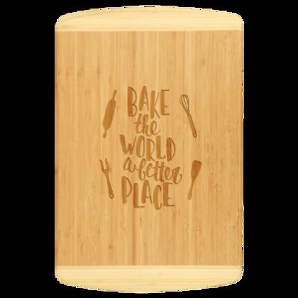 Bamboo Cutting Board Two-Tone Rectangle