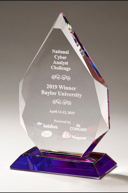 Flame Series Crystal Award with Prism-Effect Base