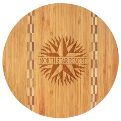Bamboo Cutting Board W/Butcher Block Inlay