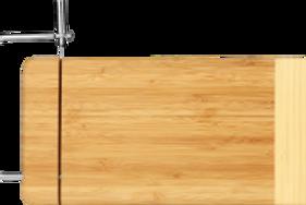 Two-Tone Bamboo Cutting Board W/Metal Cheese Cutter