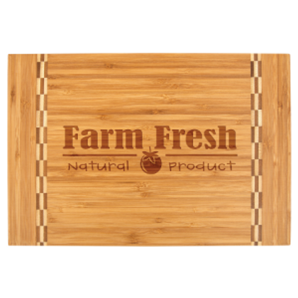 Bamboo Cutting Board W/Butcher Block Inlay