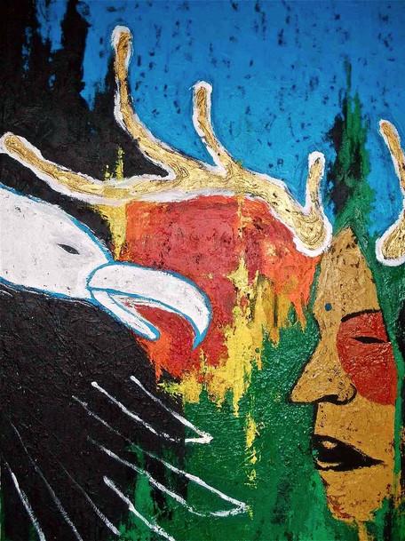 """""""Sacred Talk"""" Acrylic on canvas 30 x 46 in."""