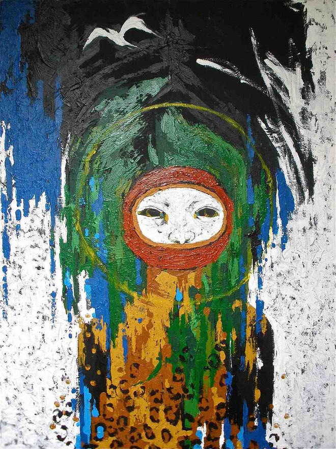 """""""i am you + you are me"""" Acrylic on canvas 30 x 40 in. Sold."""