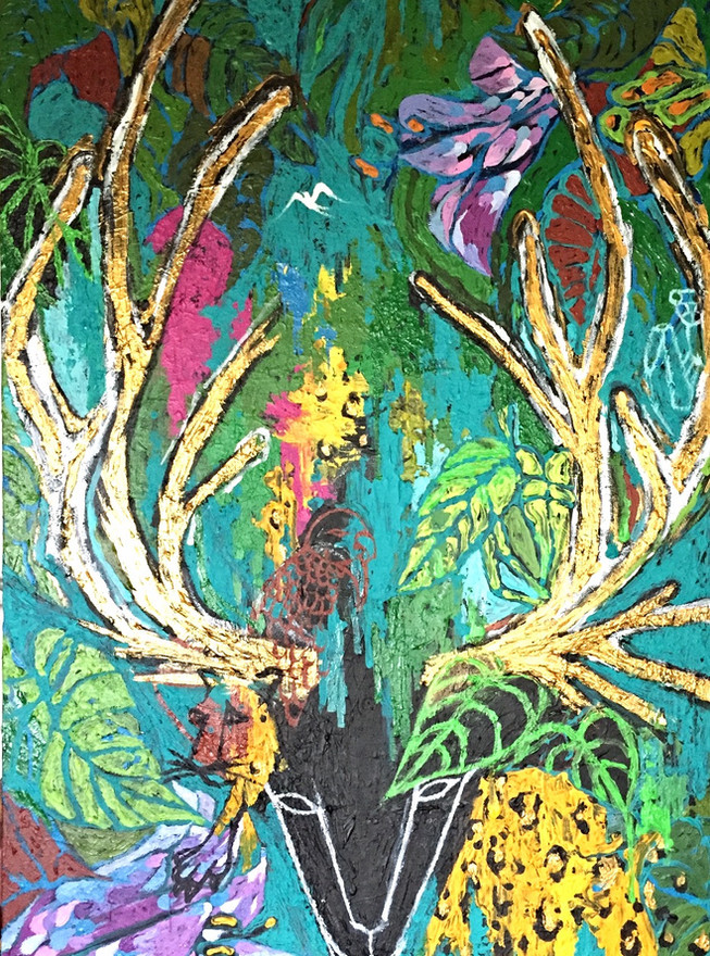 """""""Forest Spirit""""  Acrylic on canvas 30 x 48 in."""