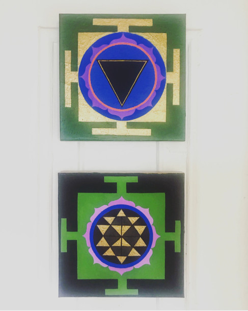 Mini yantra series Acrylic + gouche on canvas 12 x 12 in. each