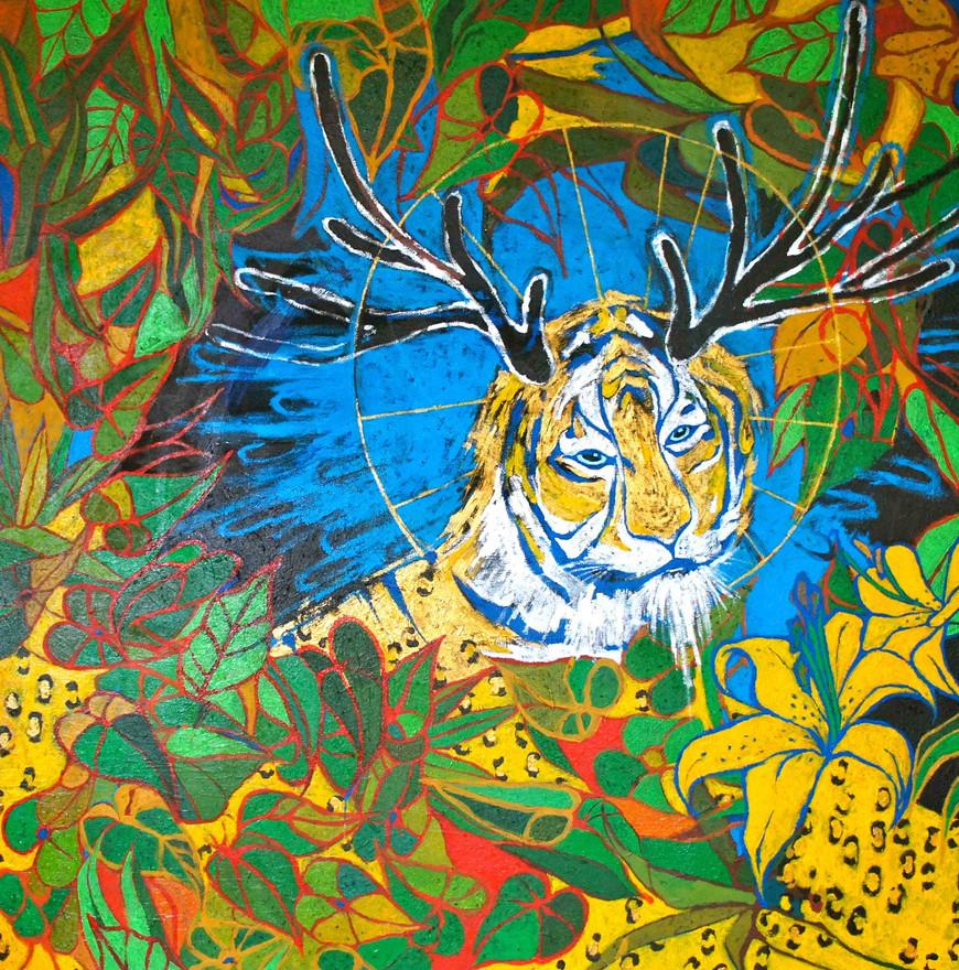"""""""Ama Ra (I am Sun)"""" Acrylic on canvas 54 x 54 in."""