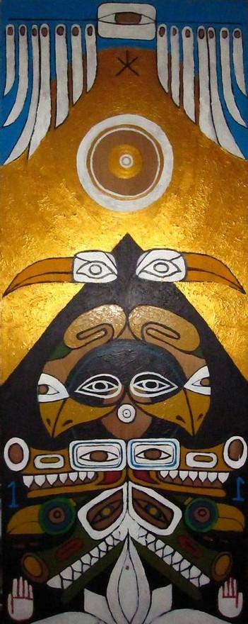 """Totem Pole"" Acrylic on wood board  30 x 78 in."