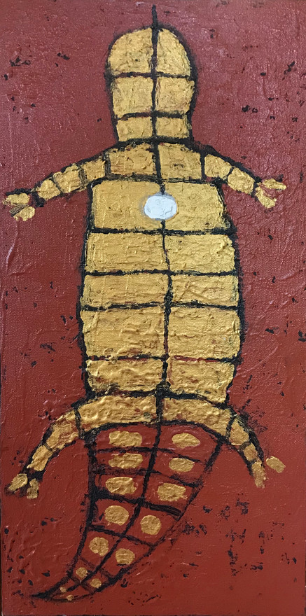 """""""Cave Creature"""" Acrylic on canvas 10 x 20 in."""