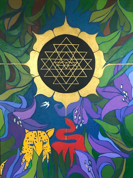 """""""Sri Yantra"""" Acrylic on canvas 30 x 40 in."""