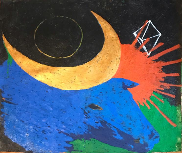 """Hathor"" Acrylic on canvas 47 x 44 in."