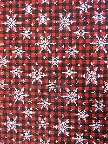 Red Plaid Winter Snowflakes