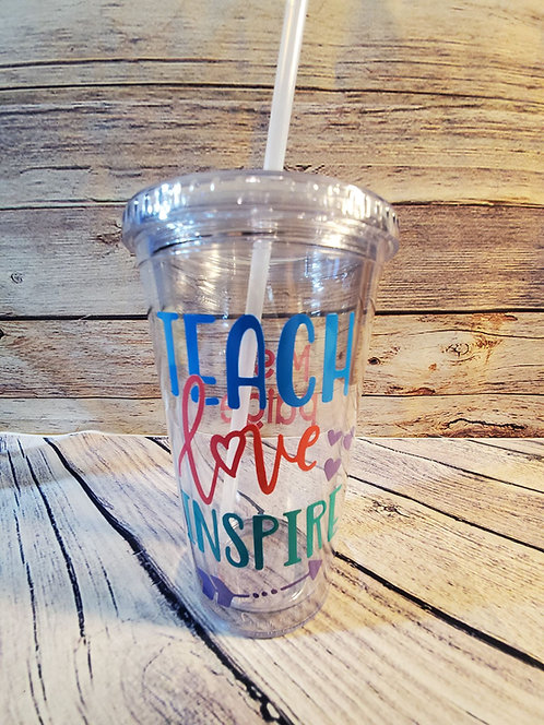 TEACHER CLEAR TUMBLER WITH STRAW