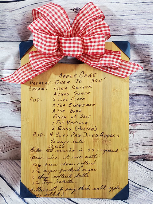 Hand Written Recipe Cutting Board