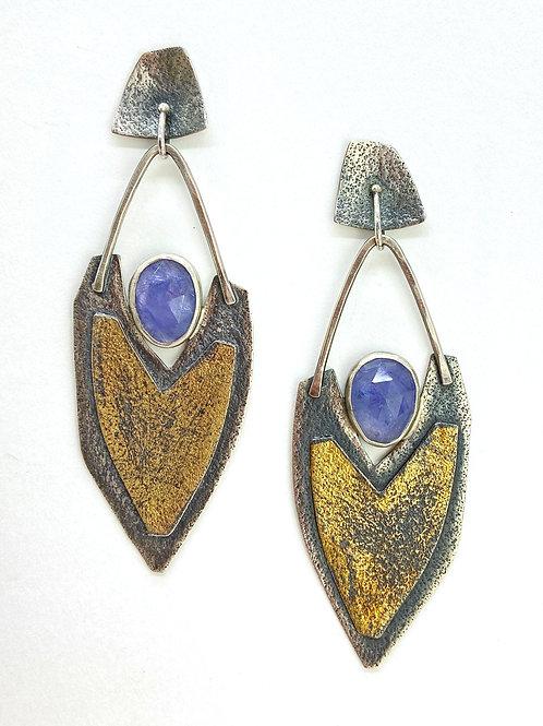 Tanzanite Luna Texture Earrings