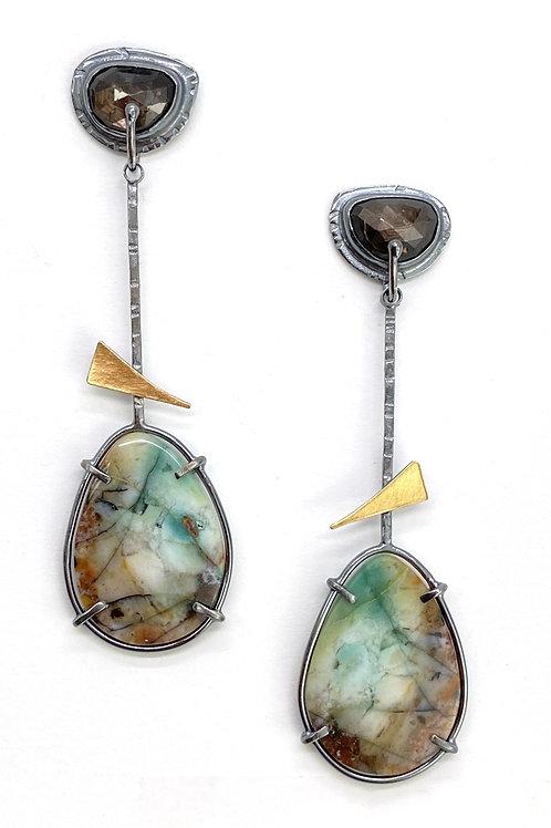 Fossilized Wood Earrings
