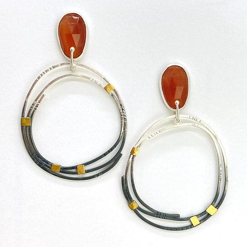 Carnelian Big Hoop Yin/Yang Earrings