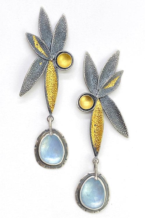 Aqua Petal Earrings