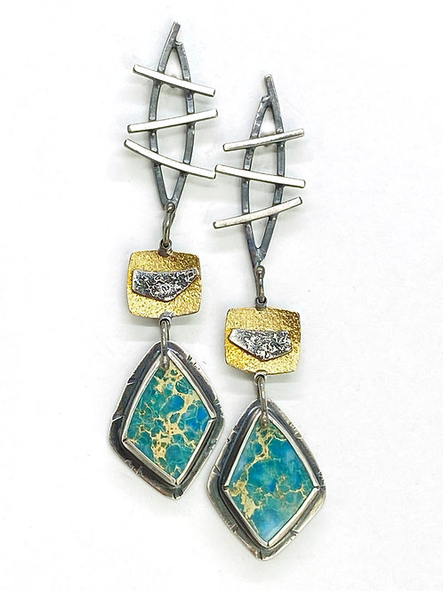 Stick and Stone Dangle Earrings
