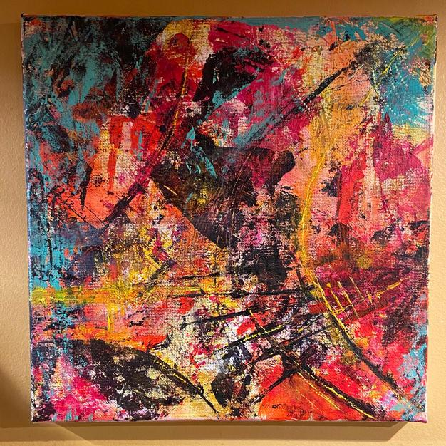 Monoprint on canvas 12X12 (acrylic)