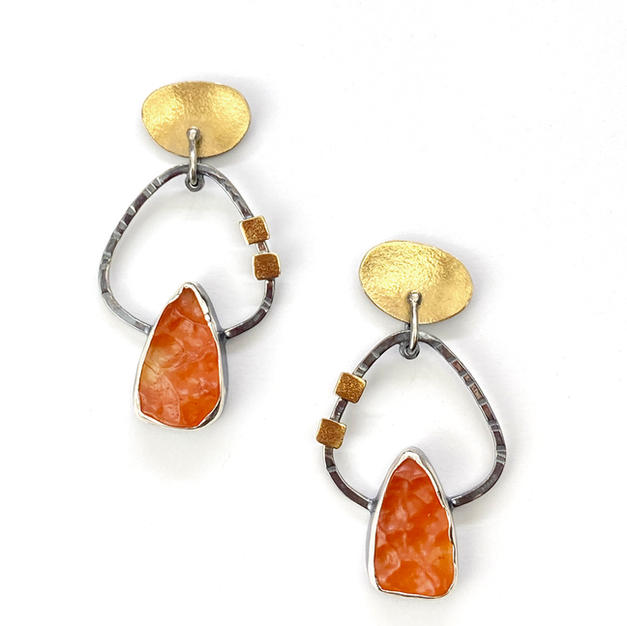 Natural Surface Carnelian Earrings