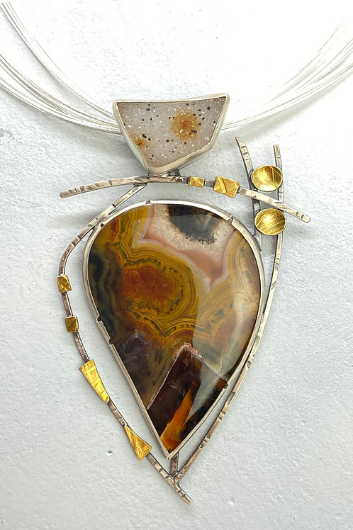 Brown Agate and Druzzy Pendant